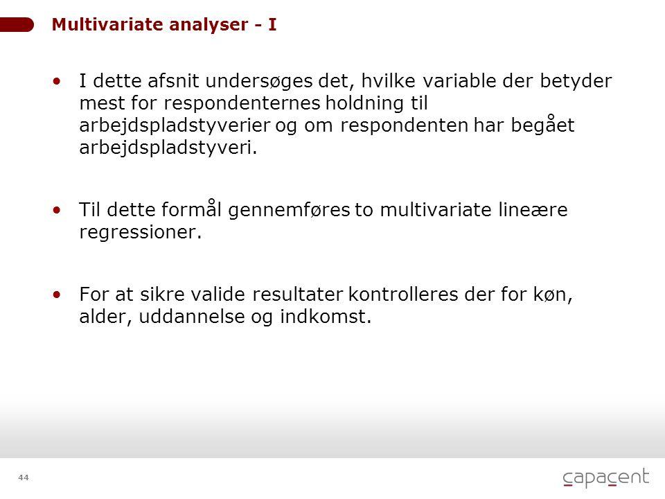 44 Multivariate analyser - I • I dette afsnit undersøges det, hvilke variable der betyder mest for respondenternes holdning til arbejdspladstyverier og om respondenten har begået arbejdspladstyveri.
