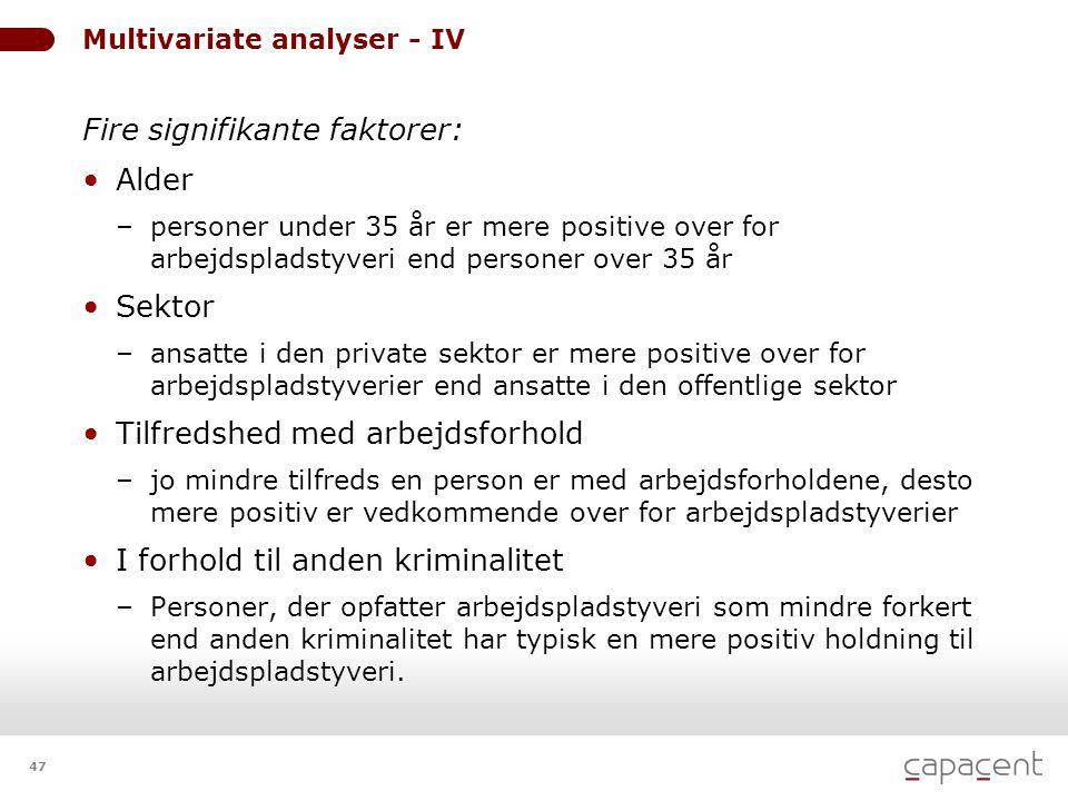 47 Multivariate analyser - IV Fire signifikante faktorer: • Alder – personer under 35 år er mere positive over for arbejdspladstyveri end personer ove