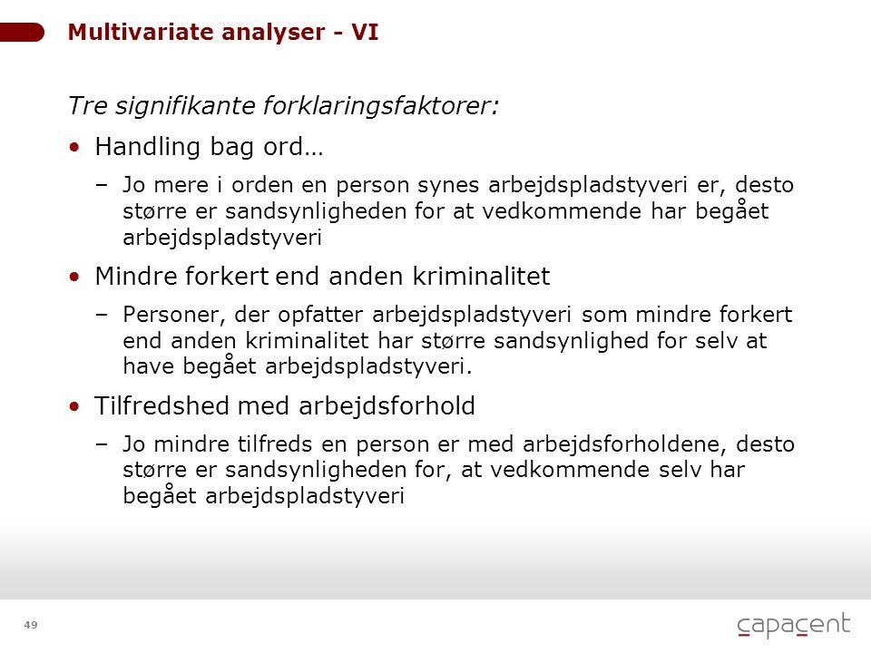 49 Multivariate analyser - VI Tre signifikante forklaringsfaktorer: • Handling bag ord… – Jo mere i orden en person synes arbejdspladstyveri er, desto