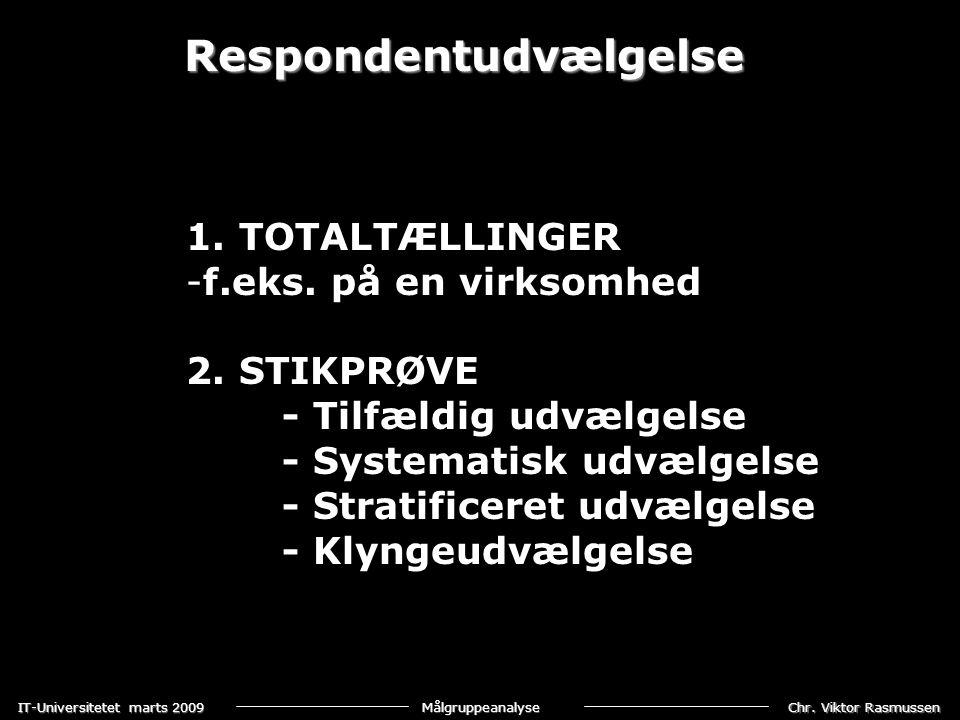 Chr. Viktor Rasmussen IT-Universitetet marts 2009 Målgruppeanalyse Respondentudvælgelse 1. TOTALTÆLLINGER -f.eks. på en virksomhed 2. STIKPRØVE - Tilf