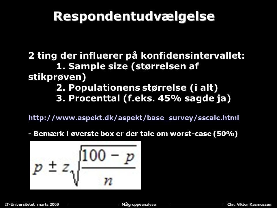 Chr. Viktor Rasmussen IT-Universitetet marts 2009 Målgruppeanalyse Respondentudvælgelse 2 ting der influerer på konfidensintervallet: 1. Sample size (