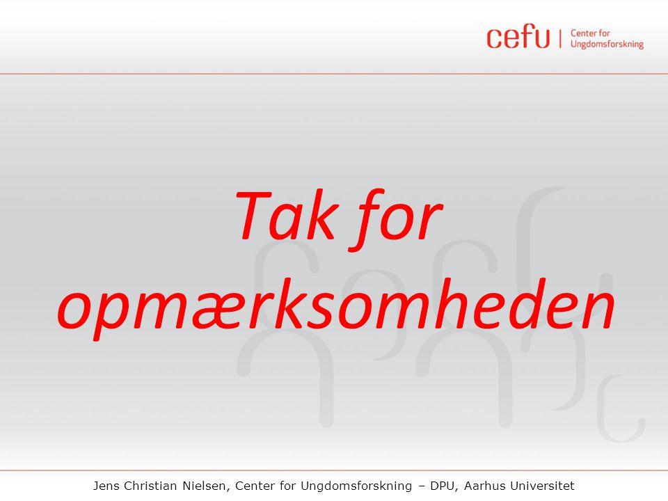 Jens Christian Nielsen, Center for Ungdomsforskning – DPU, Aarhus Universitet Tak for opmærksomheden