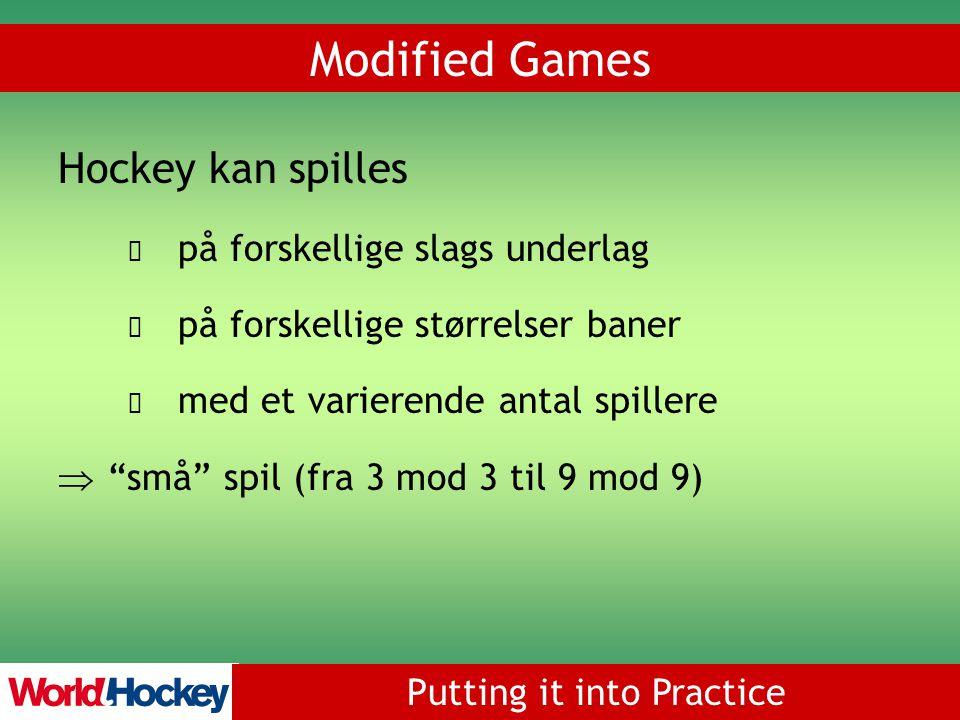 Putting it into Practice Modified Games Hockey kan spilles på forskellige slags underlag på forskellige størrelser baner med et varierende antal spillere  små spil (fra 3 mod 3 til 9 mod 9)