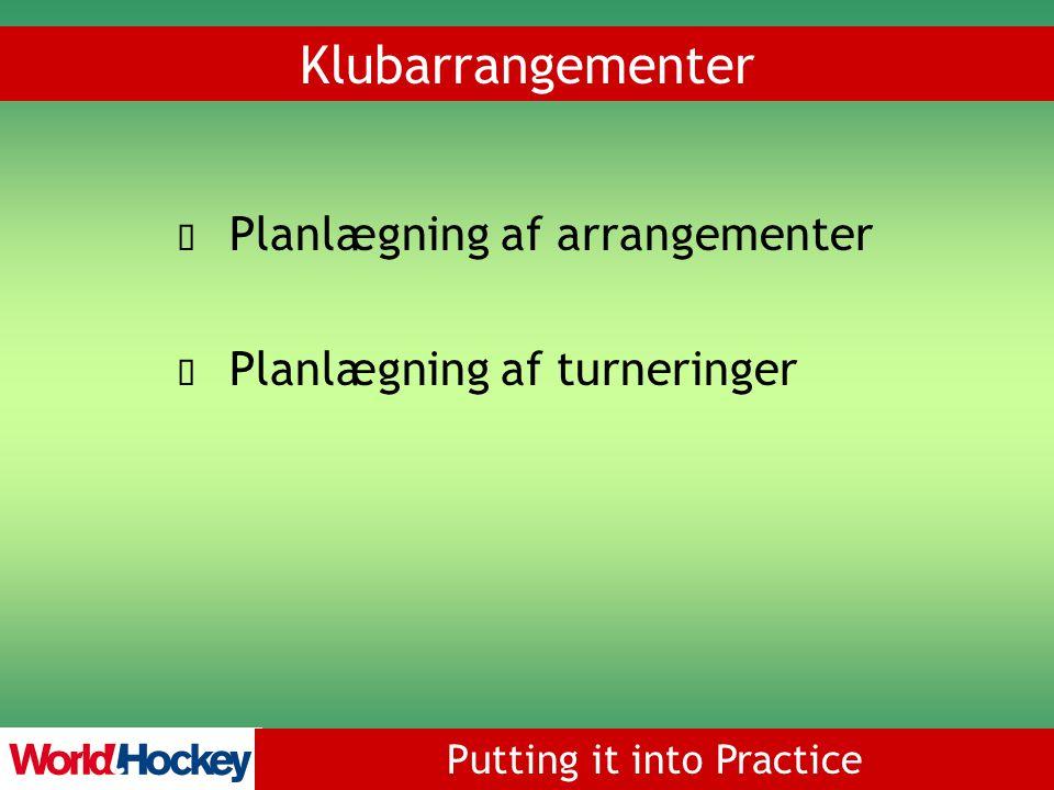Putting it into Practice Planlægning af arrangementer Planlægning af turneringer Klubarrangementer