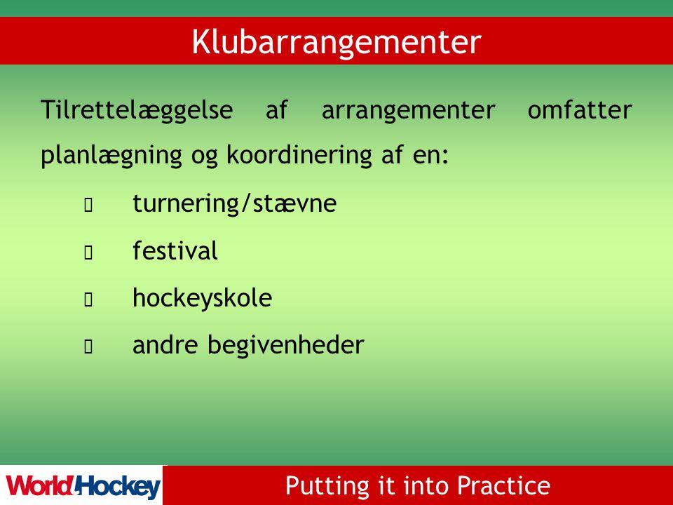 Putting it into Practice Tilrettelæggelse af arrangementer omfatter planlægning og koordinering af en: turnering/stævne festival hockeyskole andre begivenheder Klubarrangementer