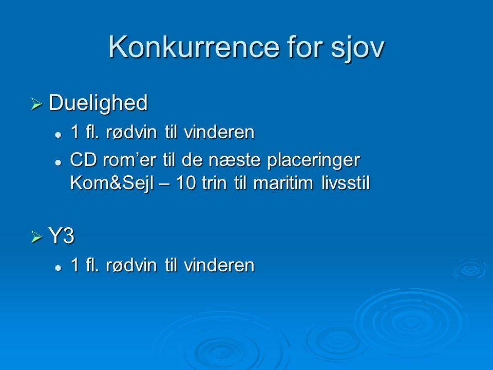 Konkurrence for sjov  Duelighed  1 fl. rødvin til vinderen  CD rom'er til de næste placeringer Kom&Sejl – 10 trin til maritim livsstil  Y3  1 fl.