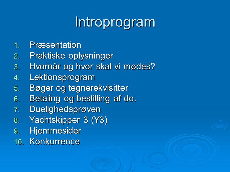 Introprogram 1. Præsentation 2. Praktiske oplysninger 3. Hvornår og hvor skal vi mødes? 4. Lektionsprogram 5. Bøger og tegnerekvisitter 6. Betaling og
