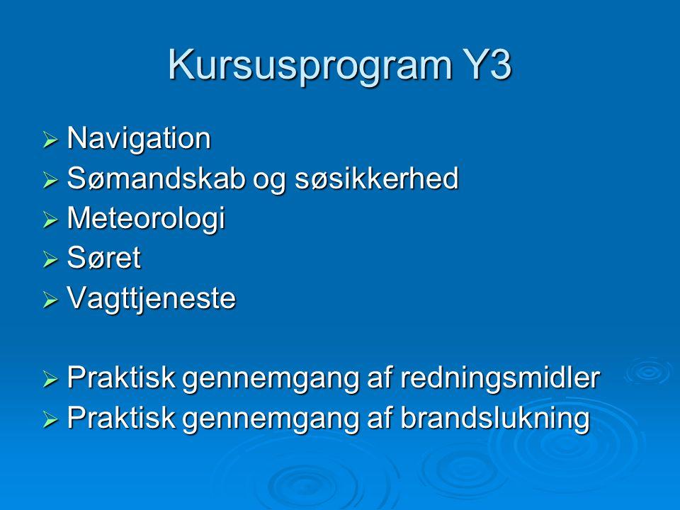Kursusprogram Y3  Navigation  Sømandskab og søsikkerhed  Meteorologi  Søret  Vagttjeneste  Praktisk gennemgang af redningsmidler  Praktisk genn