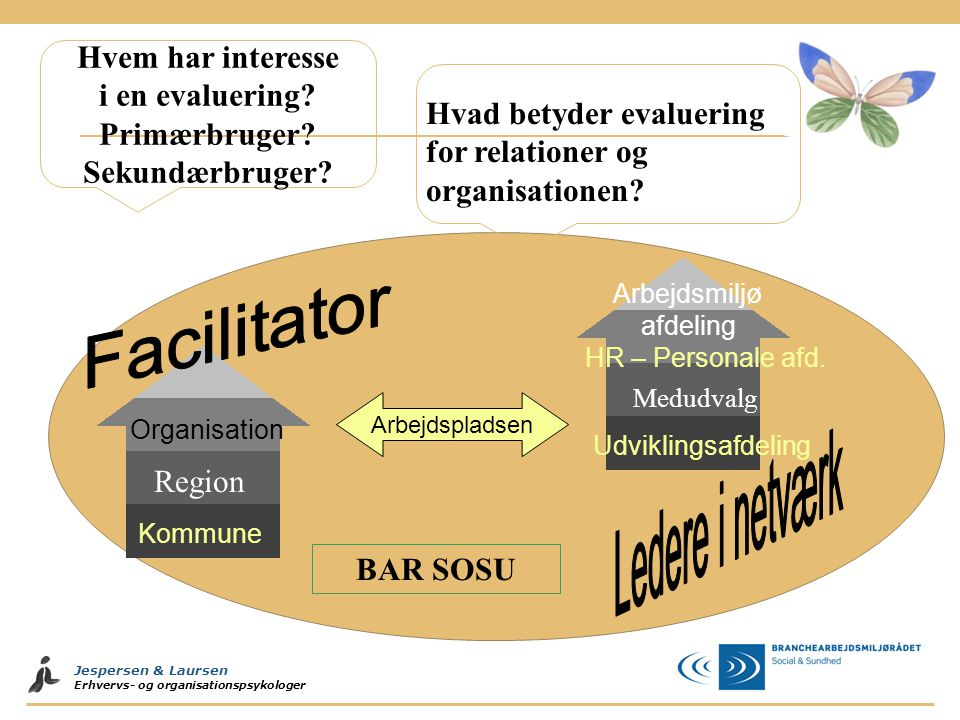 Jespersen & Laursen Erhvervs- og organisationspsykologer Region BAR SOSU Hvad betyder evaluering for relationer og organisationen? Hvem har interesse