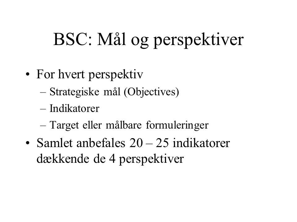 BSC: De 4 perspektiver •Kundernes syn på kvalitet og performance •Læringsperspektivet –Infrastruktur vedrørende mennesker, systemer og procedurer •Kri