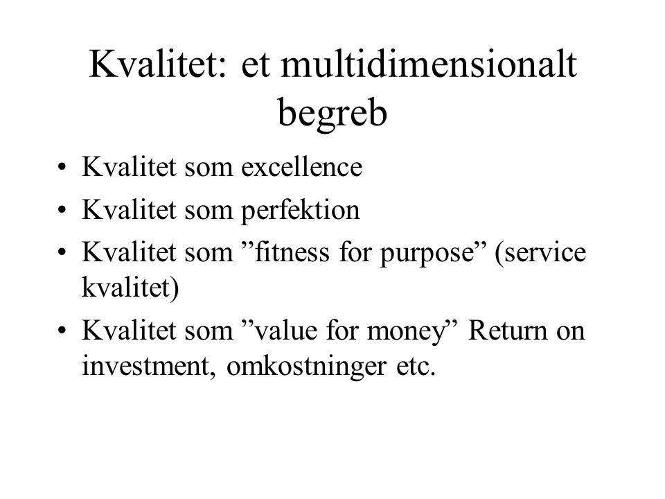 Kvalitet: et multidimensionalt begreb •Kvalitet som excellence •Kvalitet som perfektion •Kvalitet som fitness for purpose (service kvalitet) •Kvalitet som value for money Return on investment, omkostninger etc.