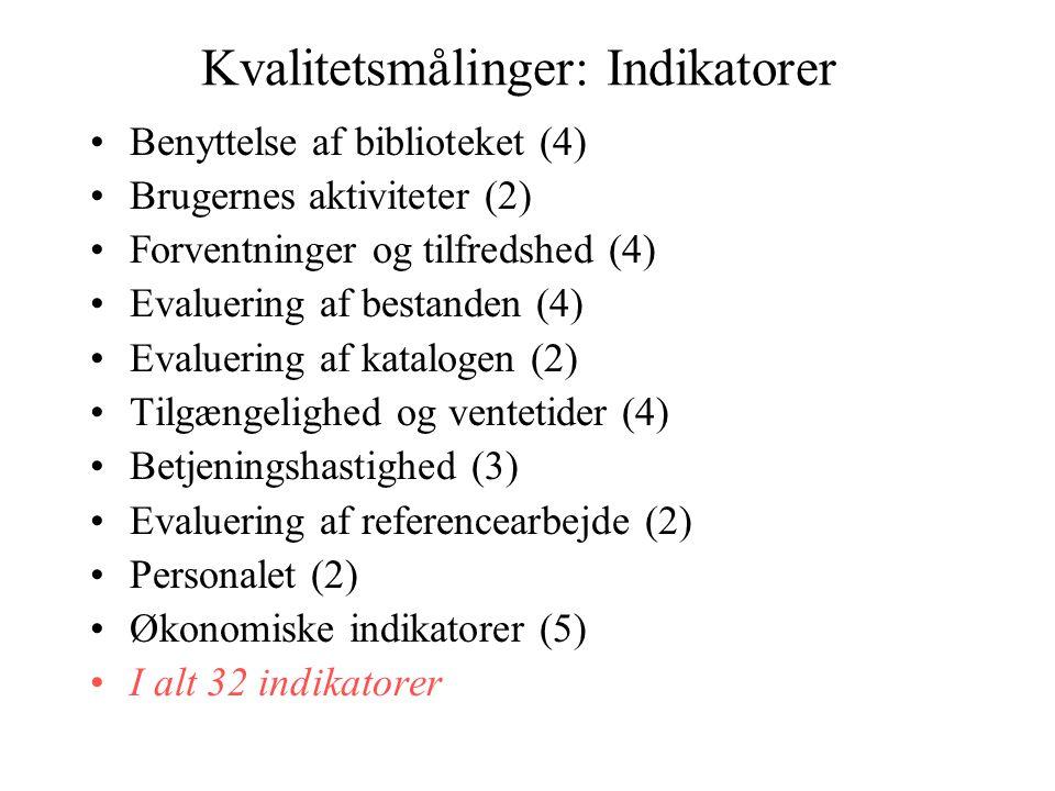 Kvalitetsmålinger: Indikatorer •Benyttelse af biblioteket (4) •Brugernes aktiviteter (2) •Forventninger og tilfredshed (4) •Evaluering af bestanden (4) •Evaluering af katalogen (2) •Tilgængelighed og ventetider (4) •Betjeningshastighed (3) •Evaluering af referencearbejde (2) •Personalet (2) •Økonomiske indikatorer (5) •I alt 32 indikatorer