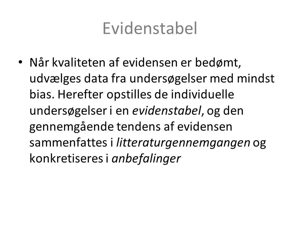 Evidenstabel • Når kvaliteten af evidensen er bedømt, udvælges data fra undersøgelser med mindst bias.