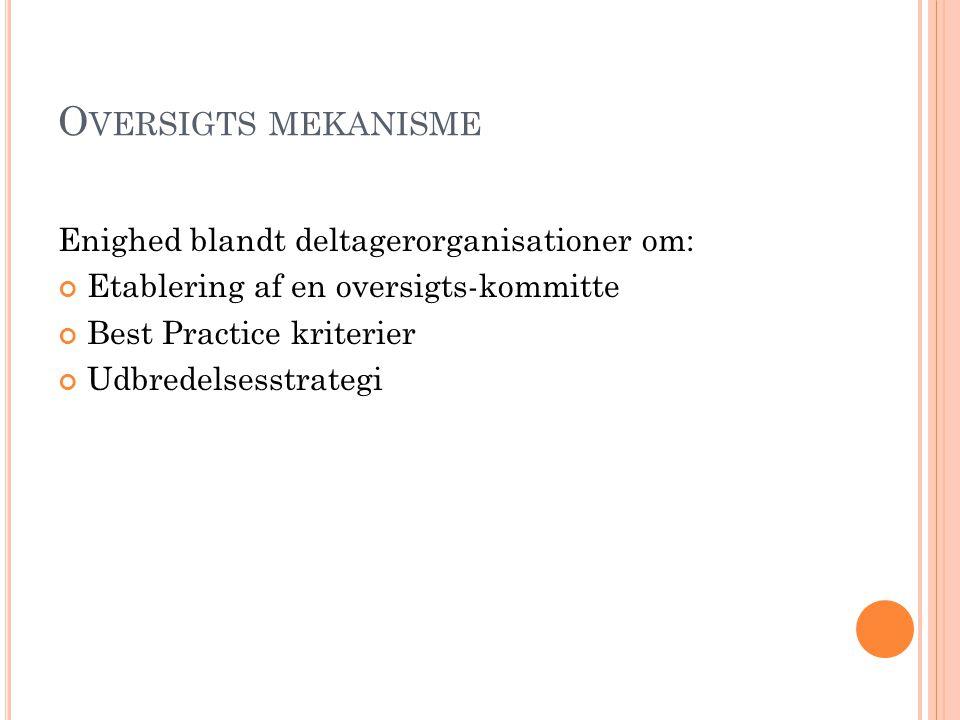 O VERSIGTS MEKANISME Enighed blandt deltagerorganisationer om: Etablering af en oversigts-kommitte Best Practice kriterier Udbredelsesstrategi