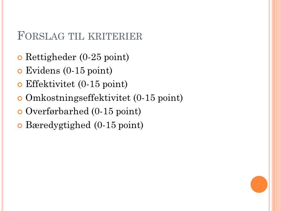 F ORSLAG TIL KRITERIER Rettigheder (0-25 point) Evidens (0-15 point) Effektivitet (0-15 point) Omkostningseffektivitet (0-15 point) Overførbarhed (0-1