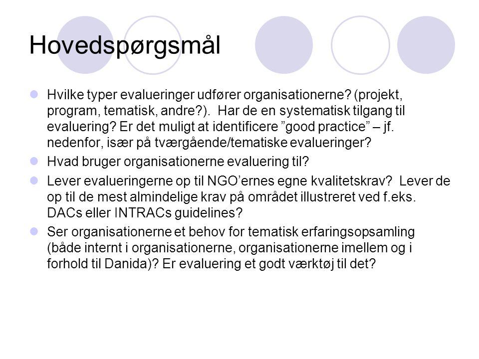 Hovedspørgsmål Til kortlægning af organisationernes monitoreringspraksis:  Har organisationerne et M&E system og tilfredsstiller det deres egne informationsbehov.