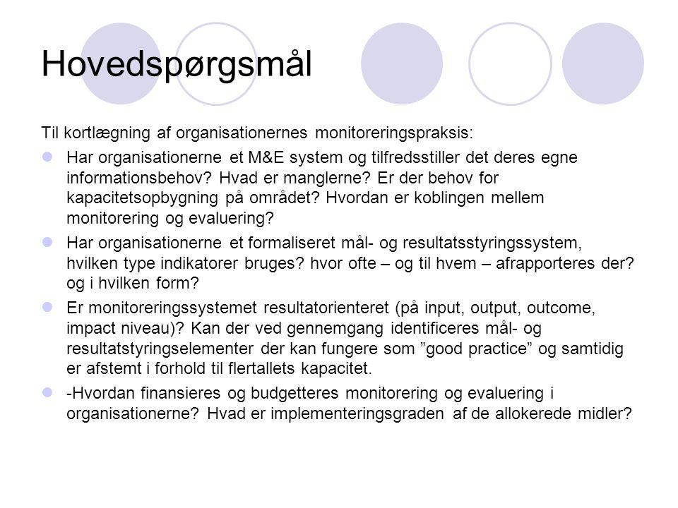 Hovedspørgsmål Til kortlægning af organisationernes monitoreringspraksis:  Har organisationerne et M&E system og tilfredsstiller det deres egne infor