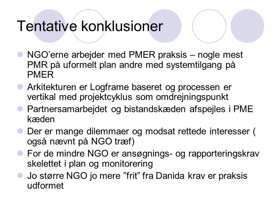 Tentative konklusioner  NGO'erne arbejder med PMER praksis – nogle mest PMR på uformelt plan andre med systemtilgang på PMER  Arkitekturen er Logfra