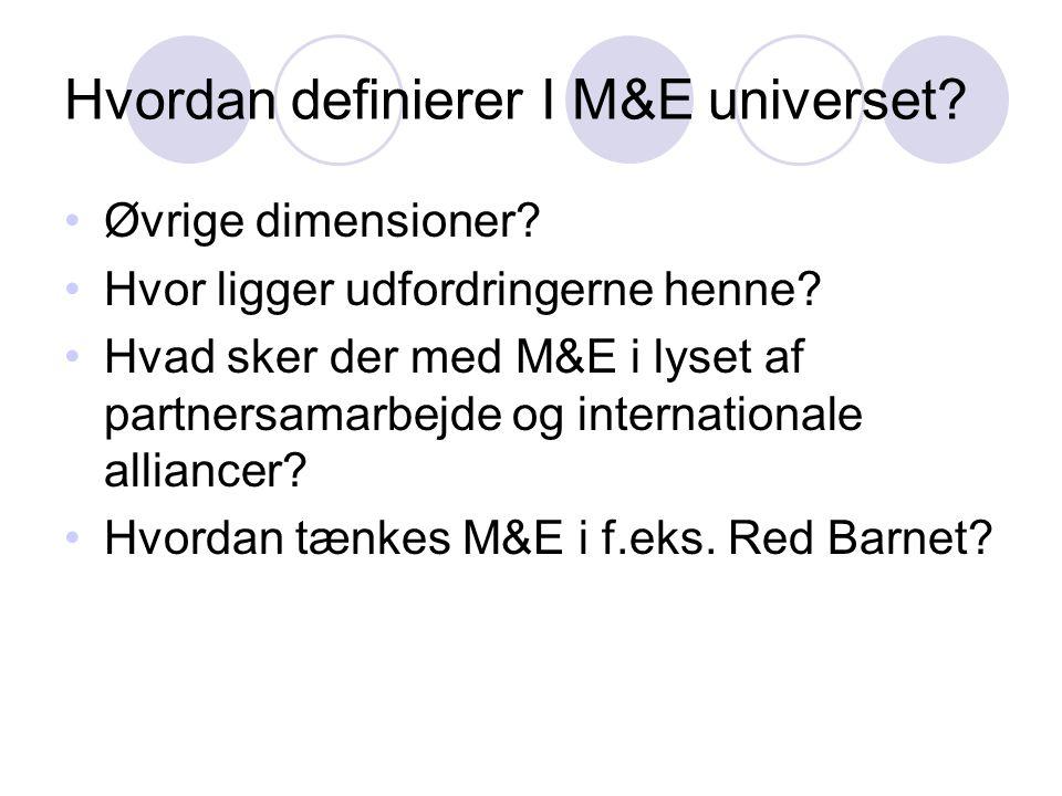 Hvordan definierer I M&E universet? •Øvrige dimensioner? •Hvor ligger udfordringerne henne? •Hvad sker der med M&E i lyset af partnersamarbejde og int