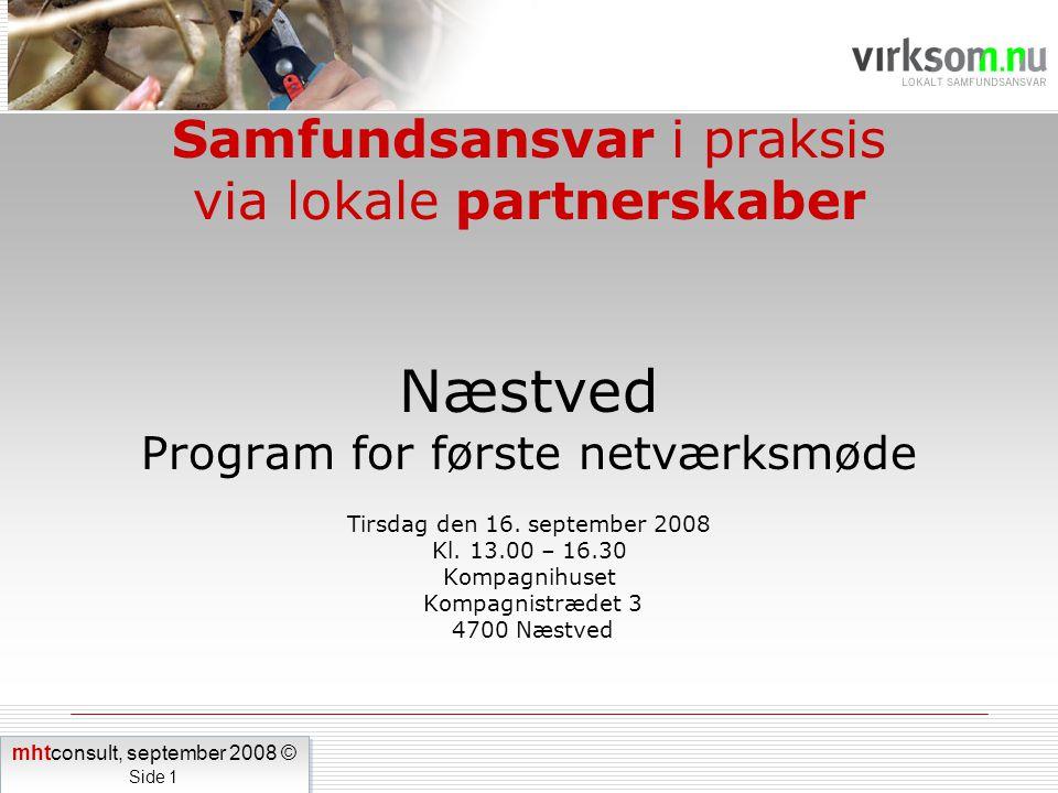 Samfundsansvar i praksis via lokale partnerskaber Næstved Program for første netværksmøde Tirsdag den 16.