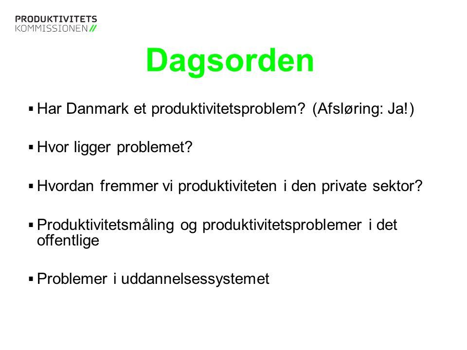 Tekstslide med bullets Brug 'Forøge / Formindske indryk' for at skifte mellem de forskellige niveauer Har Danmark et produktivitetsproblem?