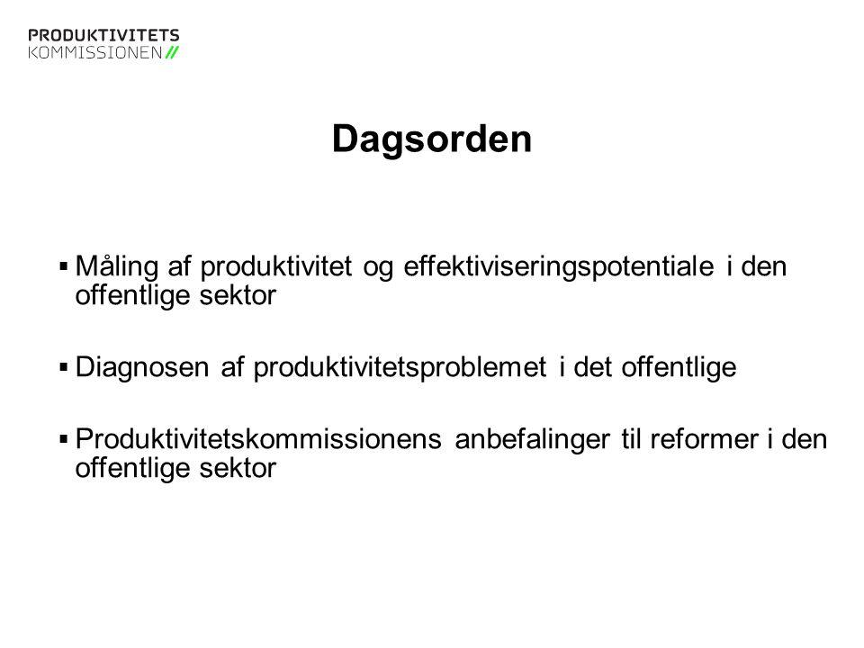 Tekstslide med bullets Brug 'Forøge / Formindske indryk' for at skifte mellem de forskellige niveauer Måling af produktivitet i det offentlige