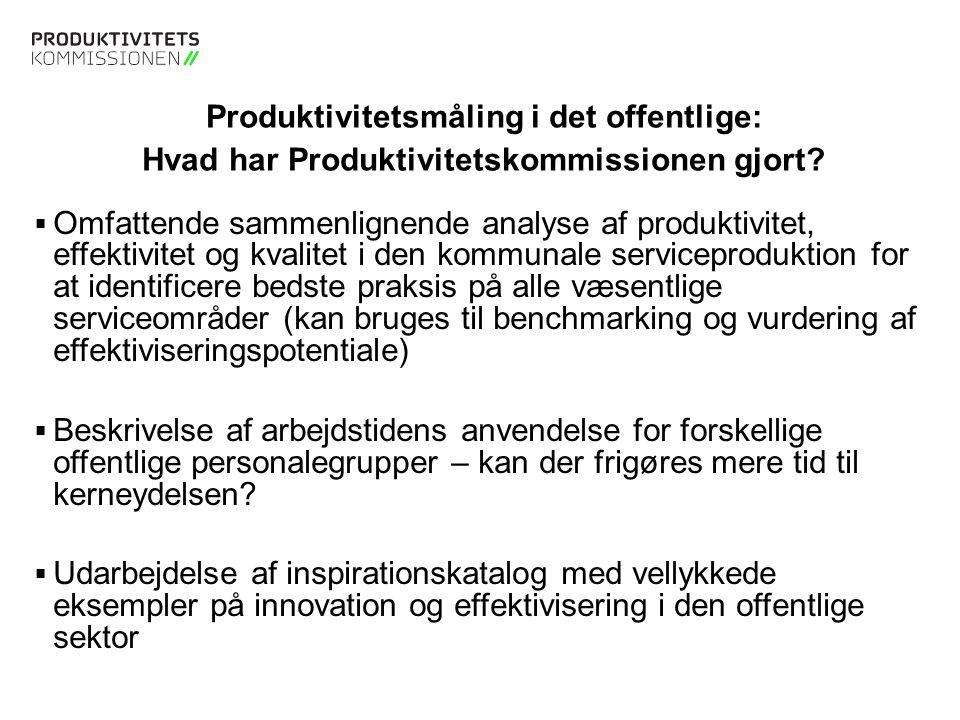 Tekstslide med bullets Brug 'Forøge / Formindske indryk' for at skifte mellem de forskellige niveauer Måling af effektiviseringspotentialet i den offentlige sektor