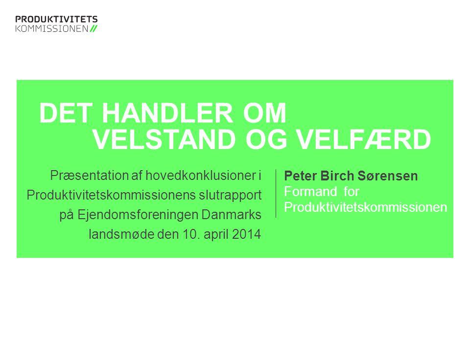 Tekstslide med bullets Brug 'Forøge / Formindske indryk' for at skifte mellem de forskellige niveauer DET HANDLER OM VELSTAND OG VELFÆRD Præsentation af hovedkonklusioner i Produktivitetskommissionens slutrapport på Ejendomsforeningen Danmarks landsmøde den 10.