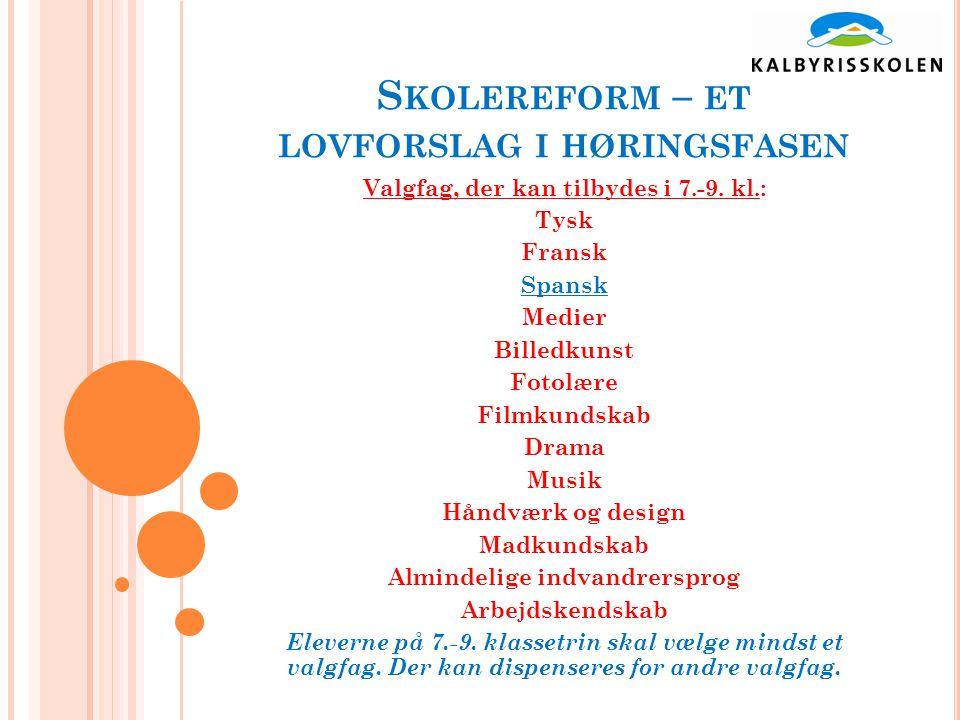S KOLEREFORM – ET LOVFORSLAG I HØRINGSFASEN Valgfag, der kan tilbydes i 7.-9.