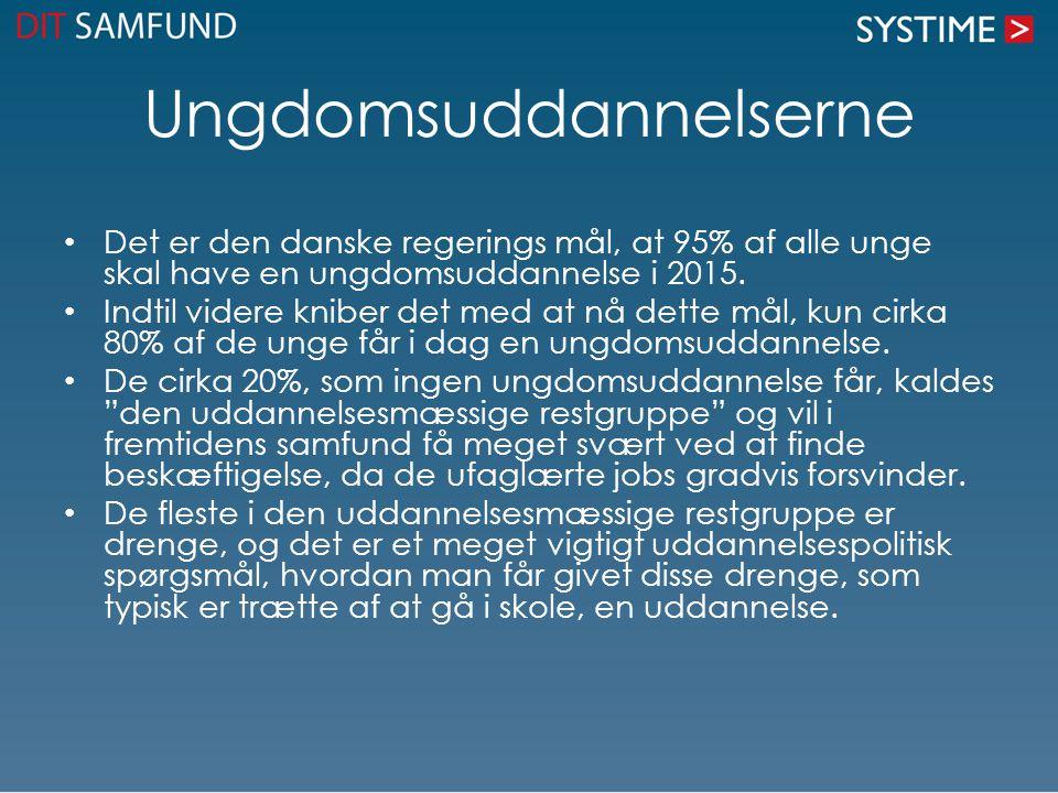 Ungdomsuddannelserne • Det er den danske regerings mål, at 95% af alle unge skal have en ungdomsuddannelse i 2015. • Indtil videre kniber det med at n