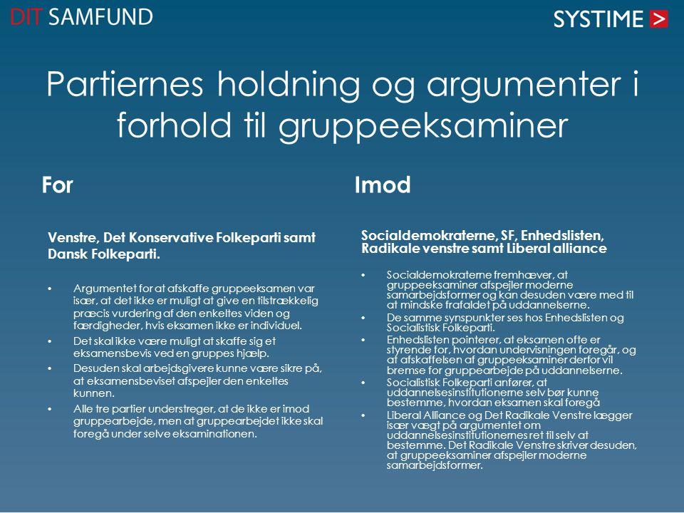 Partiernes holdning og argumenter i forhold til gruppeeksaminer For Venstre, Det Konservative Folkeparti samt Dansk Folkeparti.