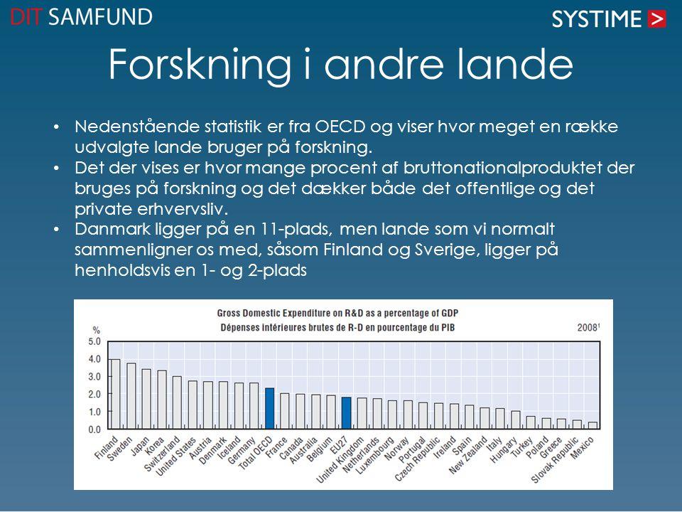 Forskning i andre lande • Nedenstående statistik er fra OECD og viser hvor meget en række udvalgte lande bruger på forskning. • Det der vises er hvor