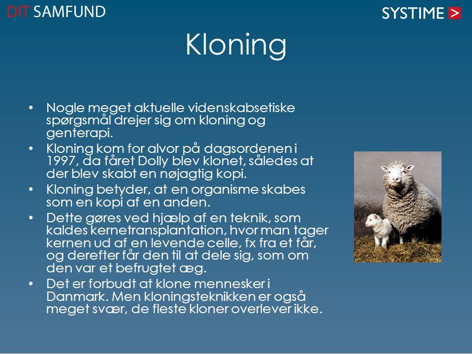 Kloning • Nogle meget aktuelle videnskabsetiske spørgsmål drejer sig om kloning og genterapi. • Kloning kom for alvor på dagsordenen i 1997, da fåret