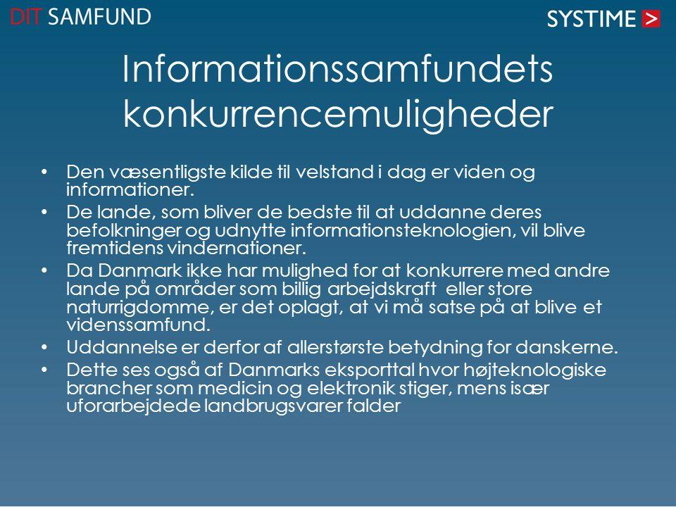 Informationssamfundets konkurrencemuligheder • Den væsentligste kilde til velstand i dag er viden og informationer.