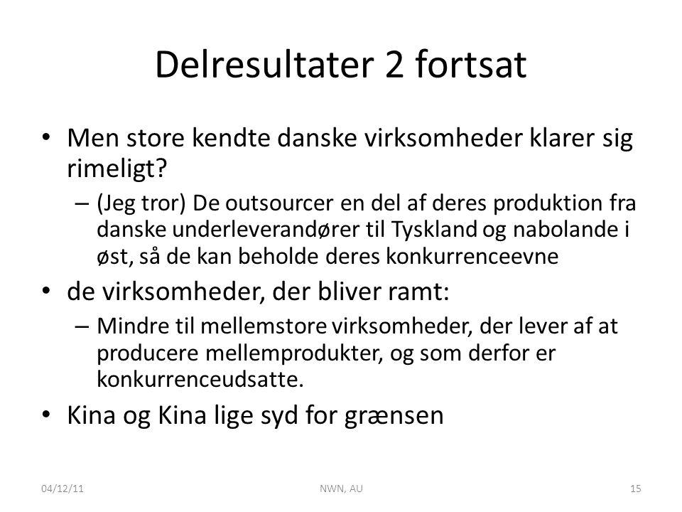Delresultater 2 fortsat • Men store kendte danske virksomheder klarer sig rimeligt.