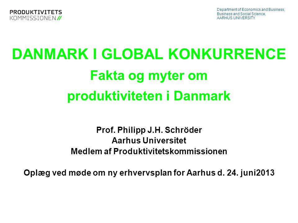 Tekstslide med bullets Brug 'Forøge / Formindske indryk' for at skifte mellem de forskellige niveauer DANMARK I GLOBAL KONKURRENCE Fakta og myter om produktiviteten i Danmark Prof.