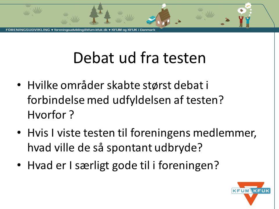 Debat ud fra testen • Hvilke områder skabte størst debat i forbindelse med udfyldelsen af testen? Hvorfor ? • Hvis I viste testen til foreningens medl