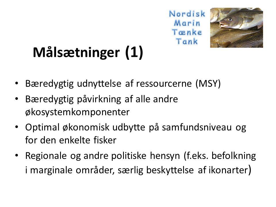 • Bæredygtig udnyttelse af ressourcerne (MSY) • Bæredygtig påvirkning af alle andre økosystemkomponenter • Optimal økonomisk udbytte på samfundsniveau og for den enkelte fisker • Regionale og andre politiske hensyn (f.eks.