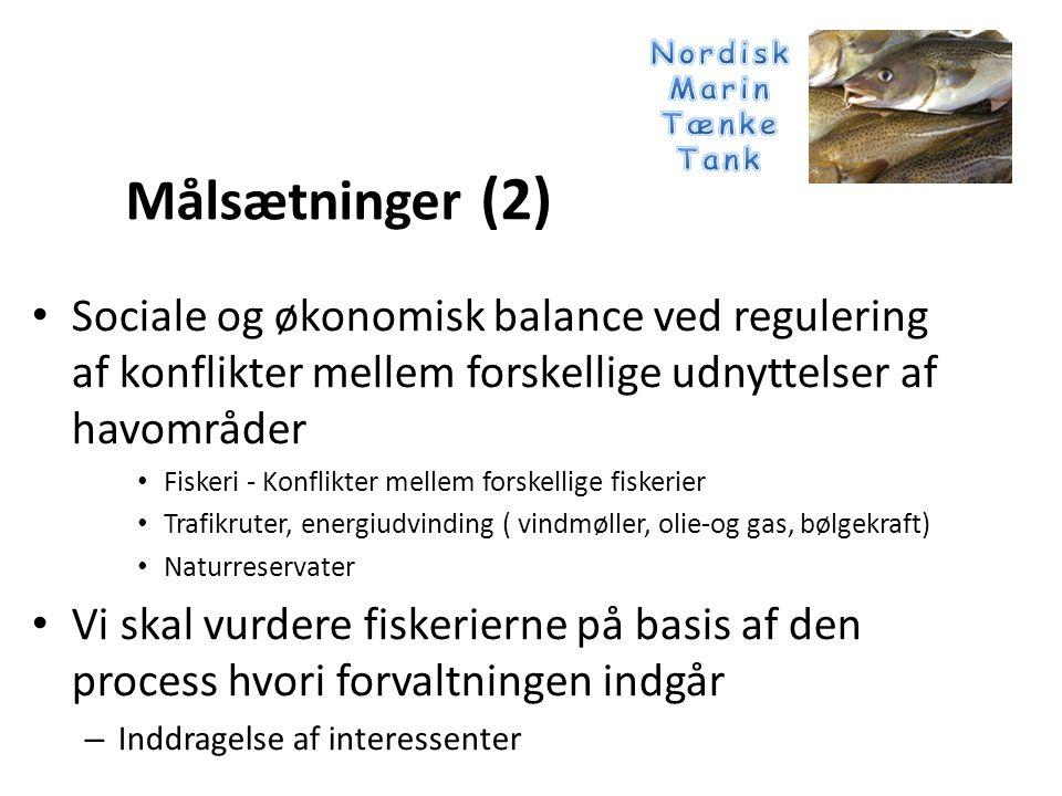 • Ratificeret og implementeret en række internationale aftaler med fiskerirelevans – MARPOL 73/78 – UNCLOS 1982 – Biodiversity convention 1992 and Biodiversity implementation plan 2010 (Fisheries) – Fisheries Agreement 1995 – FAO code of conduct on responsible fisheries – WSSD 2002 (Implementation plan article 31) – FAO technical guide on the ecosystem approach Praksis (1) Internationale forpligtigelser og vejledninger