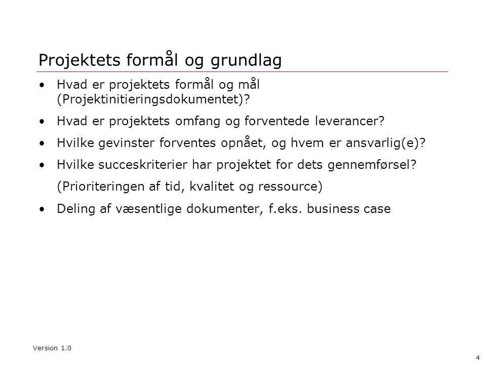 5 Projektets organisering og governance Projektets organisatoriske elementer Version 1.0