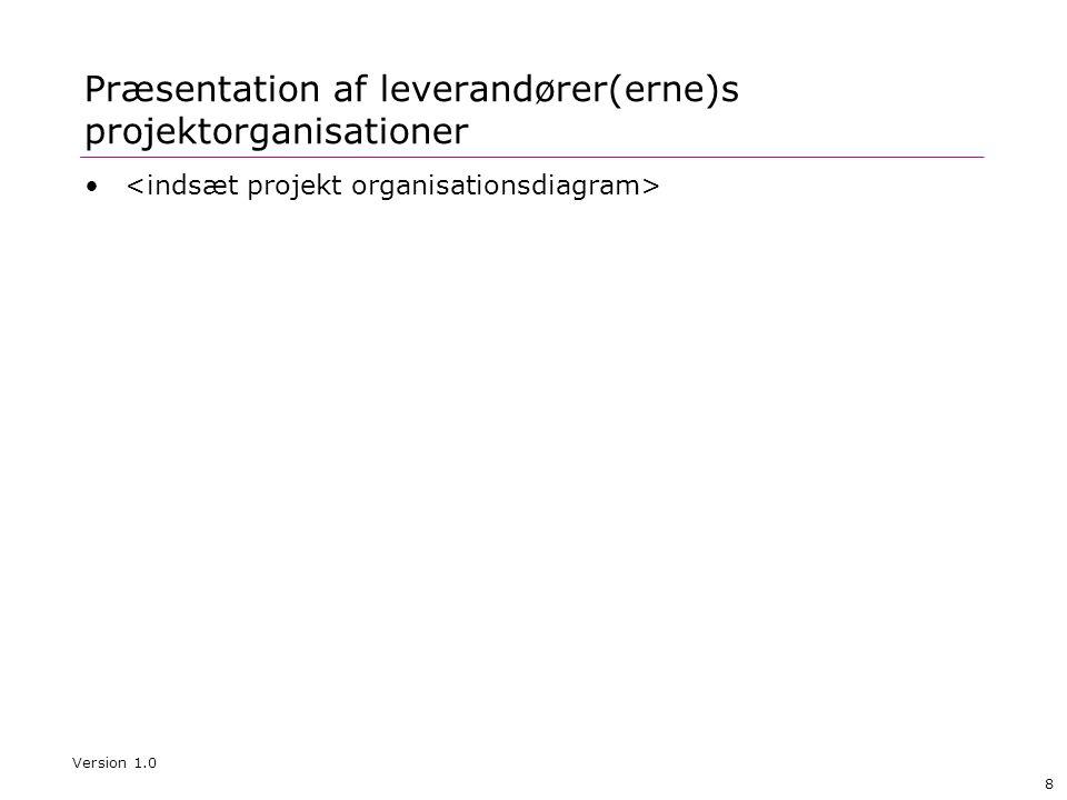 8 Præsentation af leverandører(erne)s projektorganisationer • Version 1.0