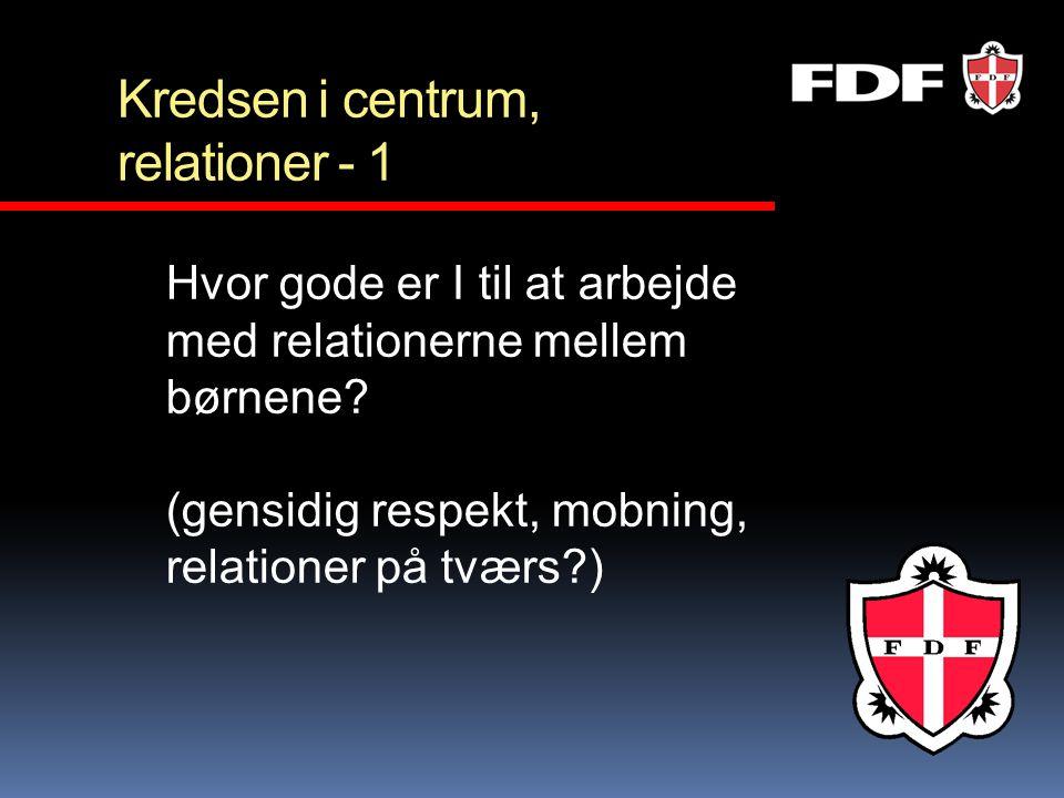 Kredsen i centrum, relationer - 1 Hvor gode er I til at arbejde med relationerne mellem børnene? (gensidig respekt, mobning, relationer på tværs?)