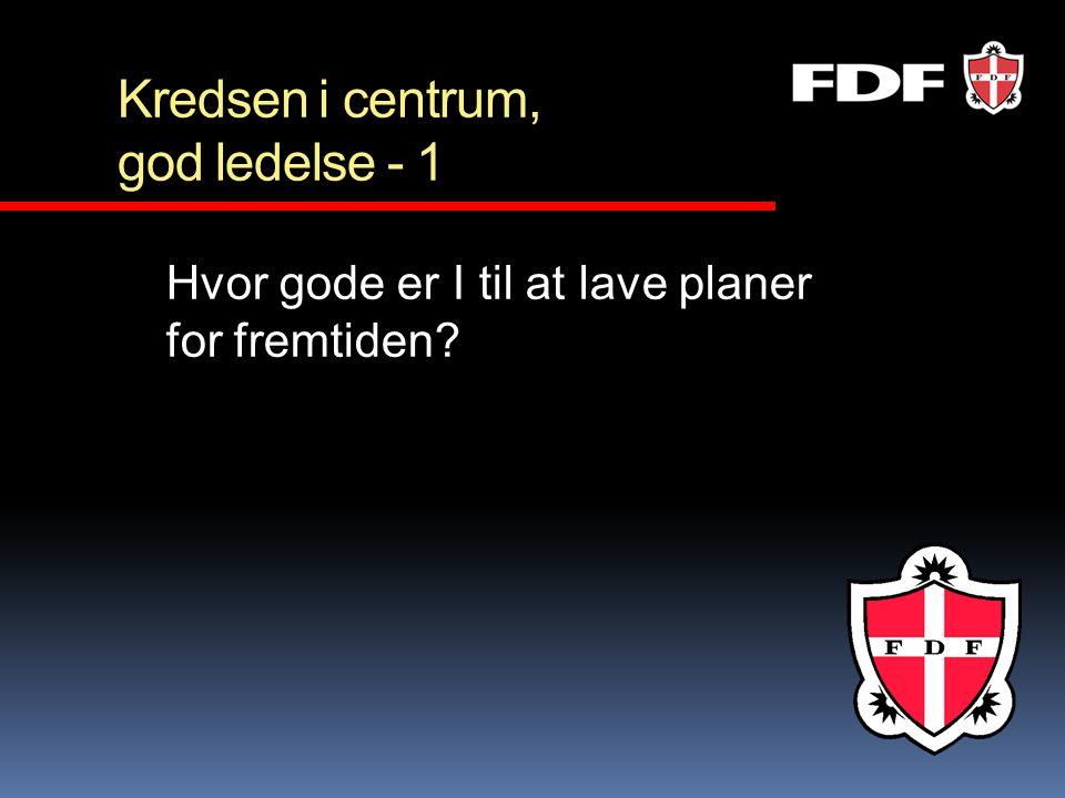 Kredsen i centrum, god ledelse - 1 Hvor gode er I til at lave planer for fremtiden?