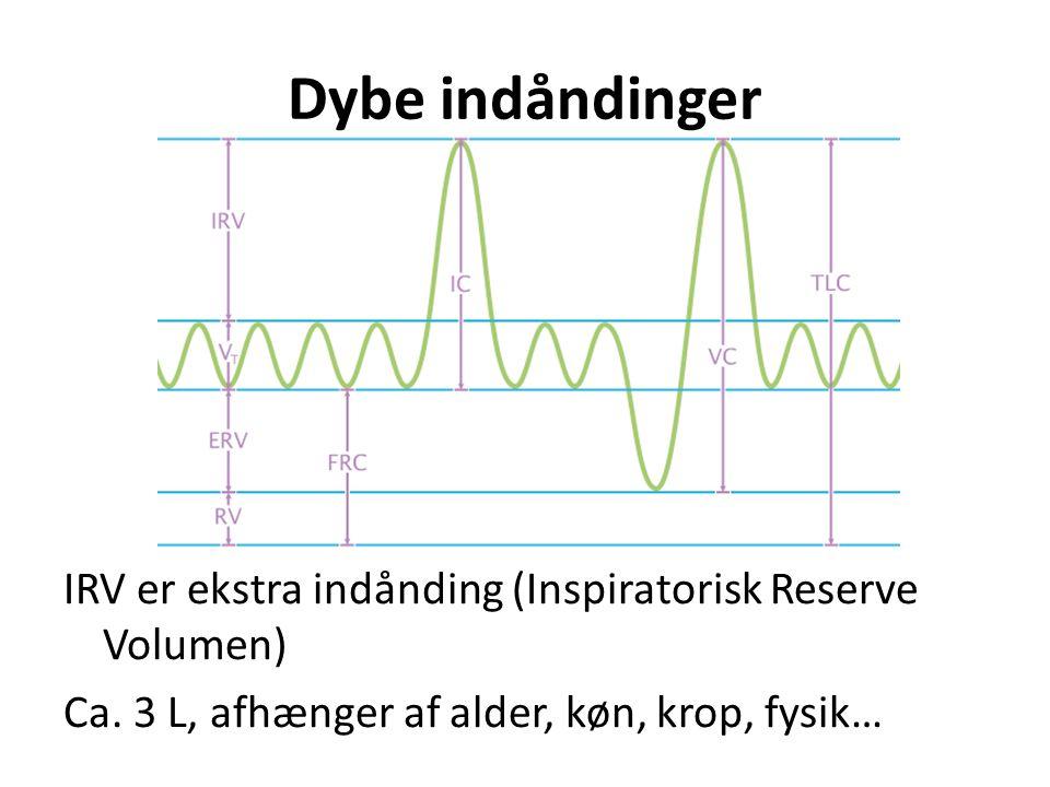 Dybe indåndinger IRV er ekstra indånding (Inspiratorisk Reserve Volumen) Ca. 3 L, afhænger af alder, køn, krop, fysik…