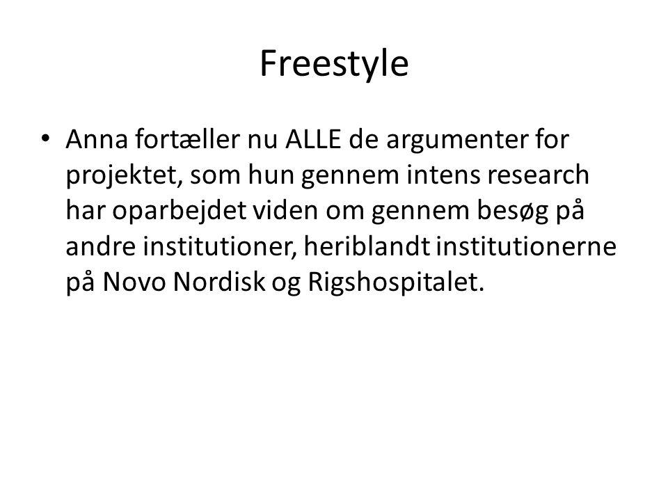 Freestyle • Anna fortæller nu ALLE de argumenter for projektet, som hun gennem intens research har oparbejdet viden om gennem besøg på andre institutioner, heriblandt institutionerne på Novo Nordisk og Rigshospitalet.