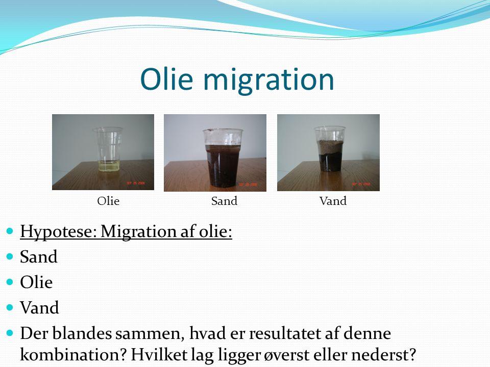 Olie migration Olie Sand Vand  Hypotese: Migration af olie:  Sand  Olie  Vand  Der blandes sammen, hvad er resultatet af denne kombination? Hvilk