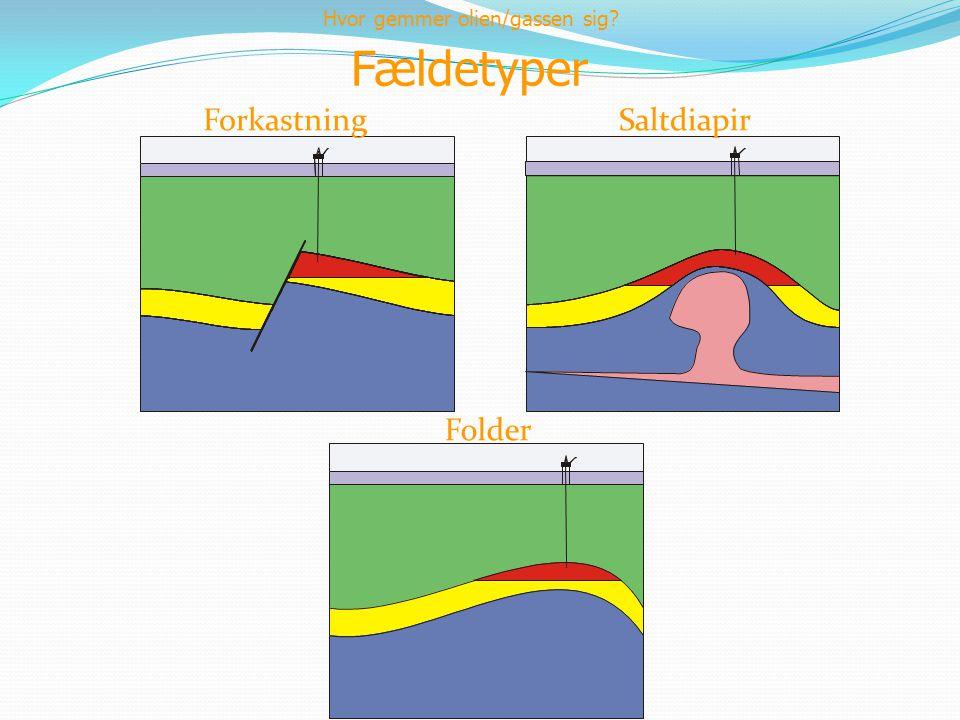 Fældetyper Forkastning Saltdiapir Folder Hvor gemmer olien/gassen sig?
