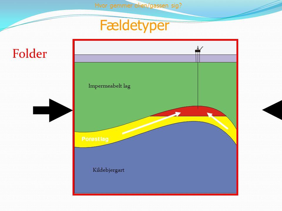 Fældetyper Folder Porøst lag Kildebjergart Impermeabelt lag Hvor gemmer olien/gassen sig?