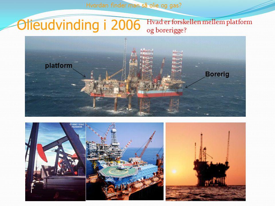 Olieudvinding i 2006 Hvordan finder man så olie og gas? Borerig platform Hvad er forskellen mellem platform og borerigge?
