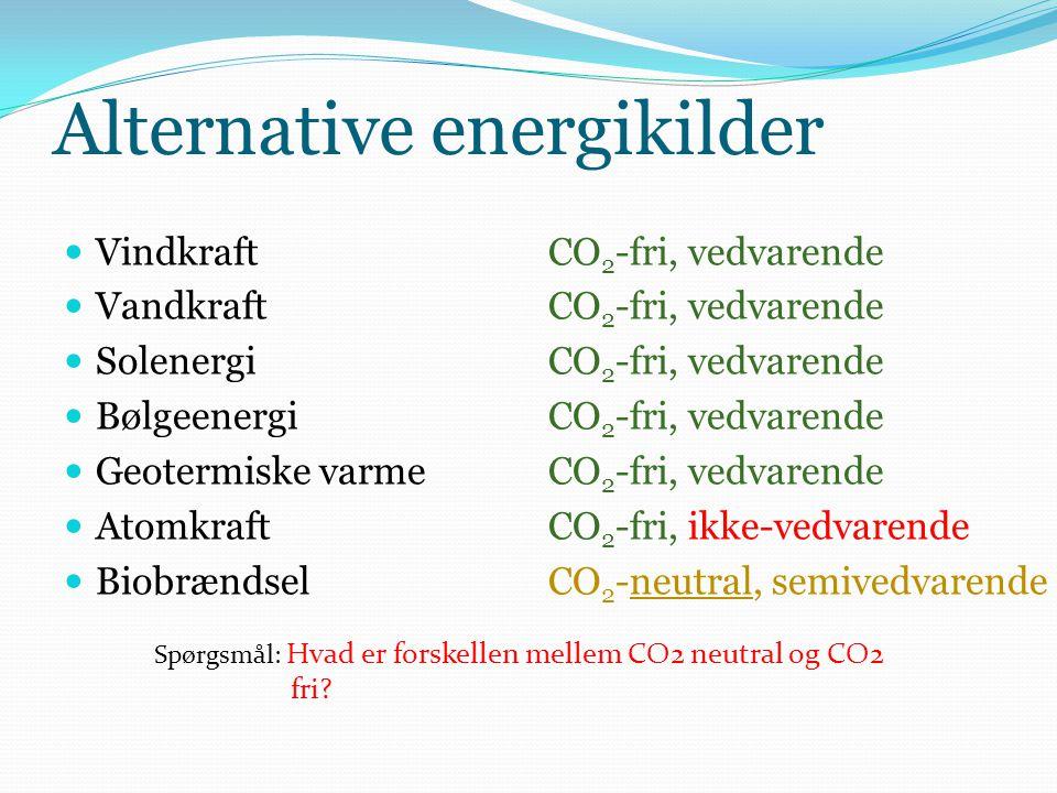 Alternative energikilder  Vindkraft  Vandkraft  Solenergi  Bølgeenergi  Geotermiske varme  Atomkraft  Biobrændsel CO 2 -fri, vedvarende CO 2 -f